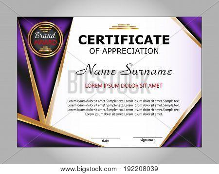 Certificate of appreciation. Award winner. Vector illustration.