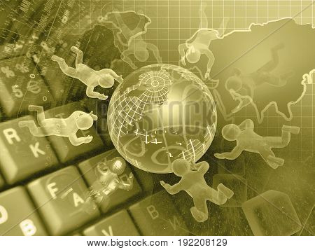 Digits globe and mans - abstract computer background in sepia.
