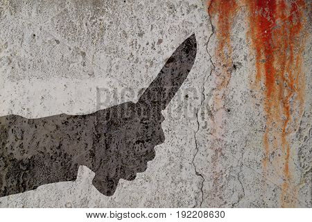 Human hand with killing knife silhouette in shadow on cement wall and blood background. Illustration for criminal news and chronicles.