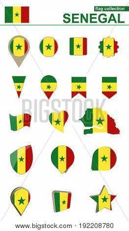 Senegal Flag Collection. Big Set For Design.