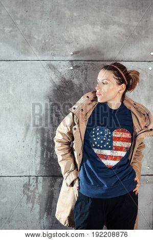 American patriot - citizen with flag print on the cloth