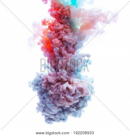 Flow of colorful paint underwater isolated on white