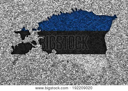 Map And Flag Of Estonia On Poppy Seeds