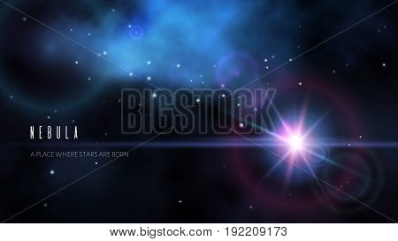 Space background with dark blue nebula and bright stars. Vector illustration.