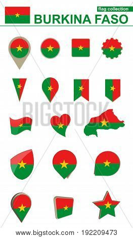 Burkina Faso Flag Collection. Big Set For Design.