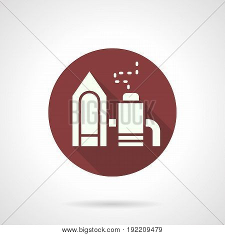 Abstract white silhouette symbol of industrial factory. Architecture and industry concept. Round flat design burgundy vector icon.