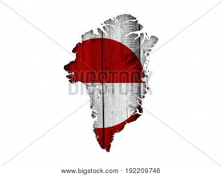 Map And Flag Of Greenland On Weathered Wood