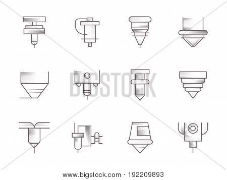 Symbols of CNC lasers processing. Industrial machines and modern technology. Collection of simple vintage design vector icons.