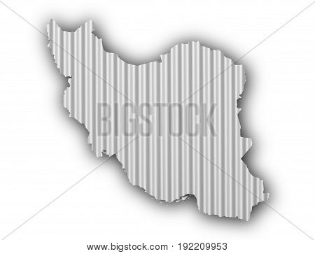 Map Of Iran On Corrugated Iron