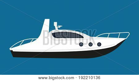 Modern white boat with powerful engine for short distance cruises and small parties on water isolated vector illustration on navy background. Luxury vessel with spacious cabin and small deck.