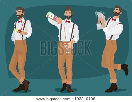 Set Of Three Mustachioed Hipster Bartenders