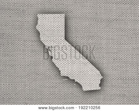 Map Of California On Old Linen