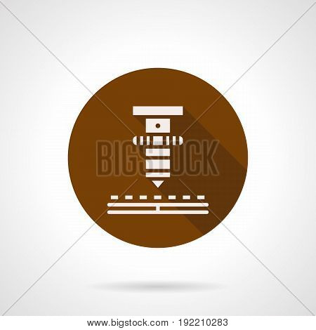 Abstract white silhouette symbol of high precision laser machine. Production of electronic components. Round flat design brown vector icon.
