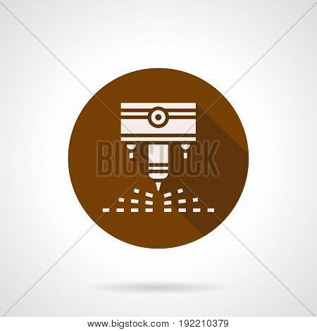 Abstract white silhouette symbol of engraving laser machine. Industrial processing with modern technology. Round flat design brown vector icon.
