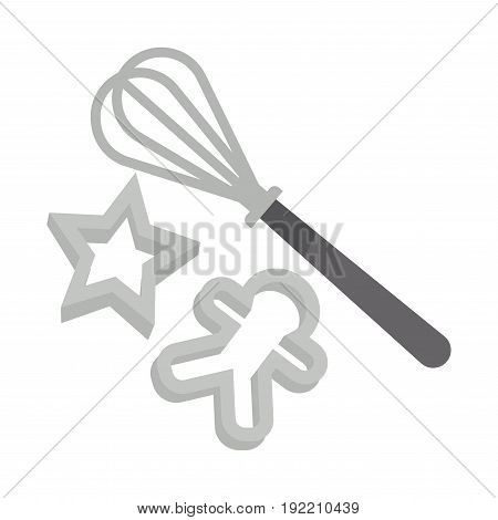 Metal kitchen tools set for delicious Christmas gingerbread cooking. Compact whisk for dough kneading and bakeware in form of star and little man isolated vector illustration on white background.