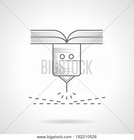 Abstract symbol of laser robot element. Industrial machines and modern technology. Vintage design vector icon.