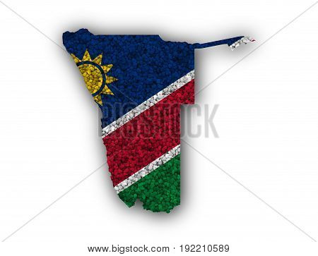 Map And Flag Of Namibia On Poppy Seeds