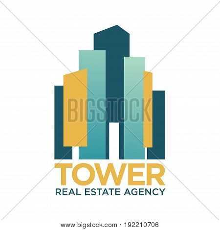 Tower real estate agency promotional emblem with abstract colorful shapes that symbolize skyscrapers of downtown isolated illustration on white background. Offices in city center that sell immovables.