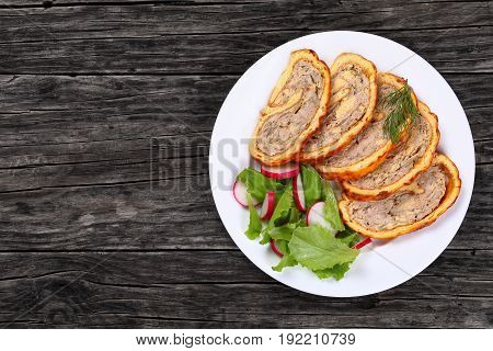 Chicken Mushrooms Meatloaf With Fresh Salad