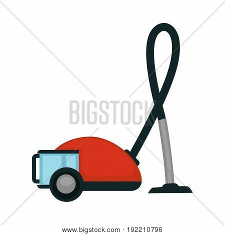 Vacuum cleaner in red color with dark tube and glass container for water isolated on white vector illustration in flat design. Hoover machine with wheels for cleaning floors and carpets inside