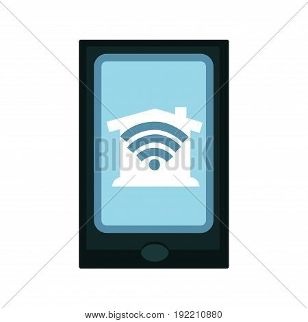 Modern digital device with big sensor screen that shows house and wi-fi icons which mean entrance into home net by wireless internet connection isolated vector illustration on white background.