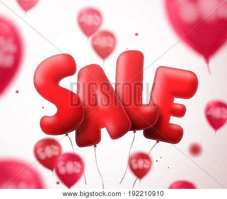 Sale balloon text vector banner design. Flying red sale shape with blurred balloons in a white background for store discount promotions. Vector illustration.