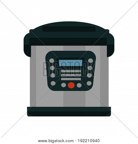 Multifunctional multicooker of metal color with lot of buttons that turn various modes for preparing delicious and healthy meals in short time isolated vector illustrations on white background.