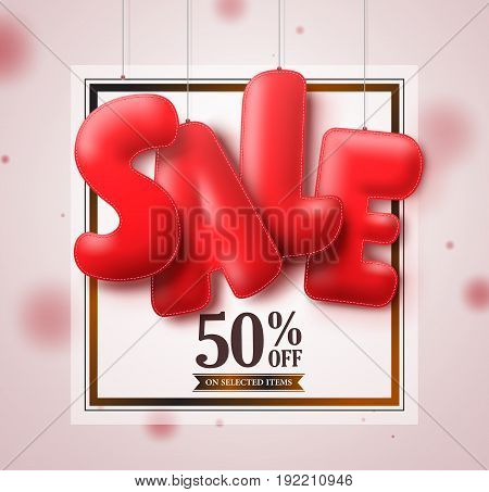 Sale balloons red 3D text hanging in white square background vector banner design for store marketing promotions. Vector illustration.
