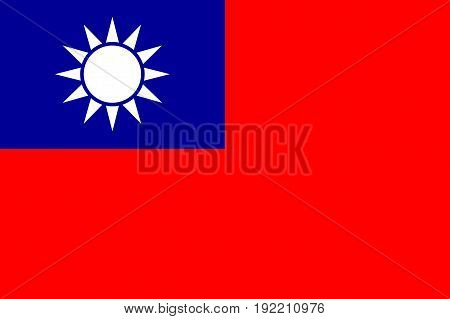Detailed and accurate illustration of colored flag of Taiwan