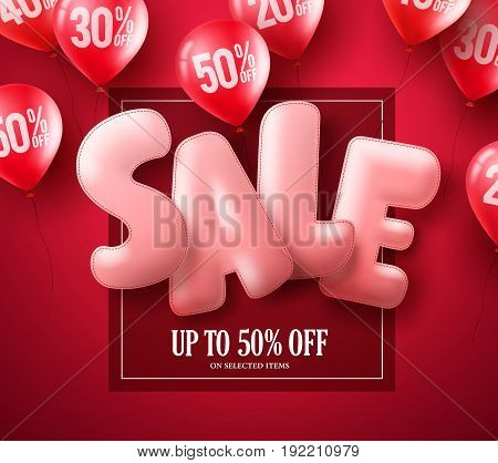 Sale balloon text 3D vector banner design with red balloons element flying in red background for store discount promotions. Vector illustration.
