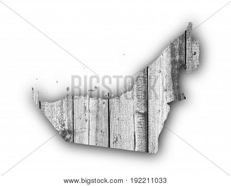 Map Of United Arab Emirates On Weathered Wood