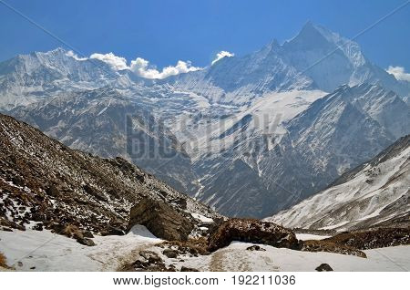 Snowy Mountain Landscape in Himalaya. Machapuchare peak, Nepal, Annapurna Base Camp Track.
