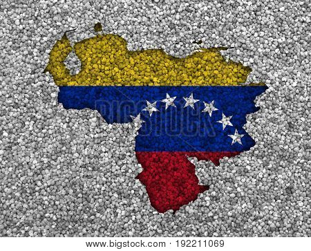 Map And Flag Of Venezuela On Poppy Seeds