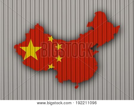 Map And Flag Of China On Corrugated Iron