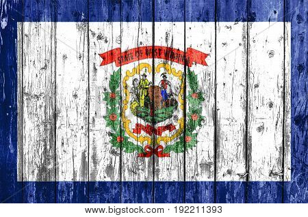 Flag of West Virginia painted on wooden frame