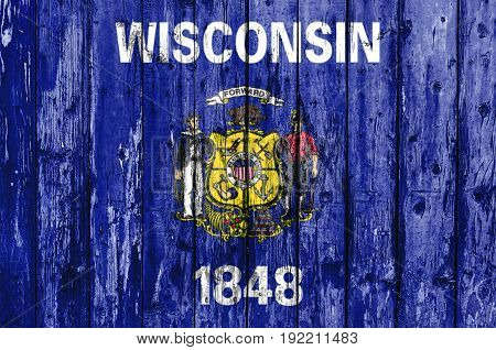 Flag of Wisconsin painted on wooden frame