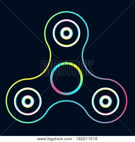 Vector Illustration Of Rainbow Color Fidget Spinner. Creative Concept Of Toy For Stress Relief On Bl