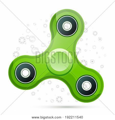 Vector Illustration Of Realistic Green Fidget Spinner With Highlights. Creative Concept Of Toy For I