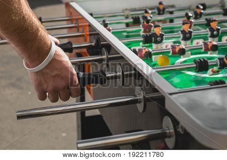 People Playing Enjoying Football Table Soccer Game Recreation Leisure