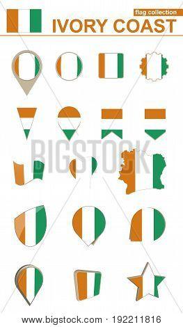 Ivory Coast Flag Collection. Big set for design. Vector Illustration.