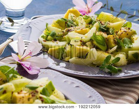 Green Avocado Cucumber Served Healthy Salad