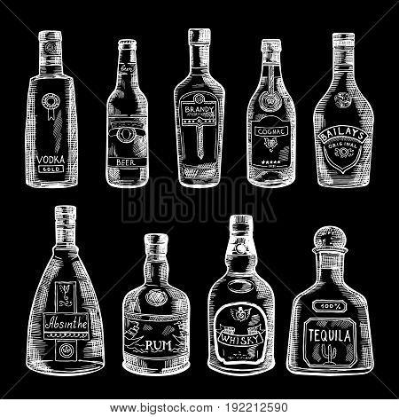 Hand drawn illustration of different bottles isolate on dark background. Vector set of drinksketch cognac and bottle of vodka