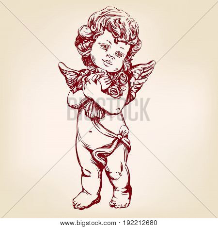 angel or cupid, little baby holds a bouquet of flowers, greeting card hand drawn vector illustration sketch