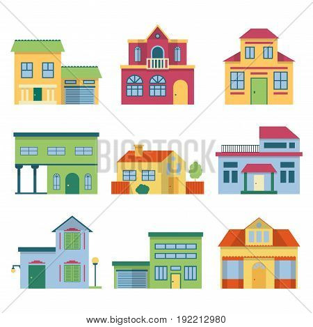 Colorful different houses with modern facade. Front view vector illustrations set. Front building house with door and window