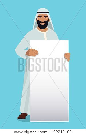 Empty white banner in hands of arabic businessman. Vector mascot design. Businessman arab character hold white banner illustration