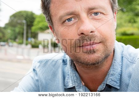 Close Up Portrait For Handsome Man Forties