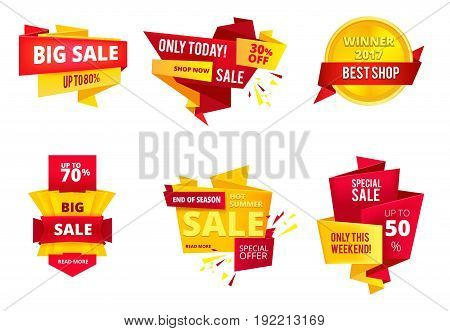Special offer abstract banners, big sales. Shopping retail. Vector illustration set. Promotion retail banner, discount and big sale