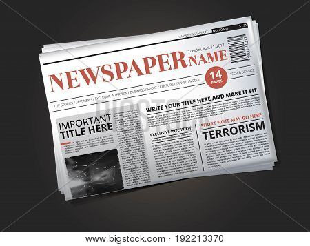 Half of newspaper template with headline. Vector illustration newspaper print with news column