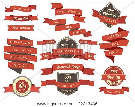 Shopping banners and ribbons with promotion text. Different discounts and offers. Vector illustration in flat style. Shopping template ribbon collection, label banner wave