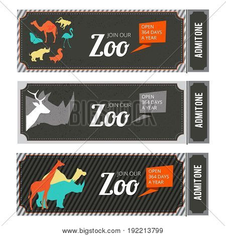 Design template of zoo tickets with different wild animals on it and place for your text. Zoo tickets template, vector illustration